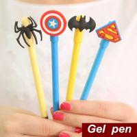 Wholesale 48 Gel pen Hero Superman batman spiderman captain Kawaii Stationery Caneta gift Office accessories school supplies