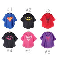 Wholesale 2015 color superman batman spiderman superhero kids waterproof Rain Coat Raincoat Rainwear Rainsuit with bags