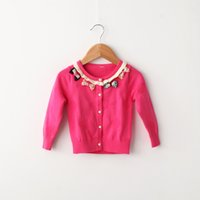 Wholesale 2015 Children s Cardigan bowknot button long sleeved cardigan sweater long sleeve shirt Free Delivery S987M