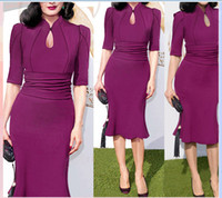 Wholesale Celebrity Runway Street Dresses Summer Cheap Mermaid Knee Length Half Sleeves Women Short Evening Gowns Plus Size Work Dress OXL141103