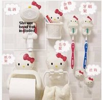 Wholesale 7pcs Set Hello Kitty Cute Bathroom Sanitary Sets Towel Rack Paper Roll Holder Hook toothpaste Brush Holders