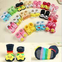 Others Unisex Others Wholesale-12piece lot Newborn Baby Socks With Rubber Soles For 1-9 Months Old Baby Boy Girl 18 Color Cartoon Animal Cotton Home Sock