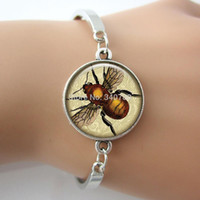bee set designs - Phrenology insect Bee Picture Charm Anatomy Jewelry Vintage Animal Design New bracelet bangle BE01