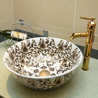 ceramic art basin - Jingdezhen Ceramic hand painted wash basin counter basin wash basin art basin Continental Gold Lotus Scroll DP40