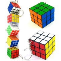 puzzle ring - Rubik s cube Keychain x3x3cm Mini Rubik Puzzle Magic Game Classic Educational Toys key rings Promotion Gift for Children kids