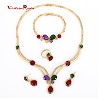 Bracelet,Earrings & Necklace good quality jewelry - 2015 Good Quality party k Gold Plated Colorful Fashion necklaces statement gifts Women fashion Necklace jewelry set A008