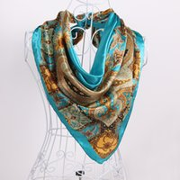 silk fashion square scarf - Elegant Women Silk Scarf Printing Square Fashion Lady Evening Party Wraps Classic Formal Occasion Mother s Wraps Scarves High Quality Cheap