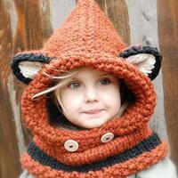 Wholesale Lovely Fashion fox cat ear winter windproof hats and scarf set for kids crochet headgear soft warm hat baby winter beanies kids