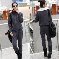 Cheap New Wholesale ladies Sport Suit Warm Zip Up Casual Sweatshirt And Pants Tracksuit For Women 3 Colors SV11 SV010525