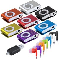 Wholesale Mini Clip Metal USB MP3 Music Media Player With Micro TF SD card Slot Support GB earphone SV000335