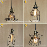 Wholesale High quality Indoor hoaxed cage bar pendant lamp Loft Northern Europe american vintage retro pendant light