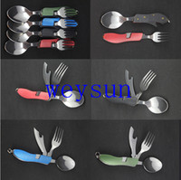 Wholesale 160pcs Camping outdoor folding cutlery set with knife fork spoon cover portable for travel stainless steel picnic tableware cookwa