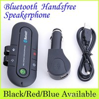 Wholesale 2015 Wireless Stereo Bluetooth Handsfree Speakerphone Car Kit With Charger Portable Hands Free Bluetooth Car Kit Black Red Blue
