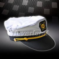 admiral fashion - 2014 Hot sale Fashion Sailor Ship Boat Captain military Hat Navy Marins Admiral Adjustable Cap White