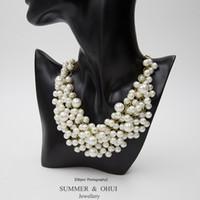 Wholesale Fashion romantic women pearl statement vintage collar necklace pearl necklace