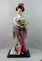 belles play - Japan Cloth Japanese Geisha Kimono Belle Woman Doll GIRL Lady Play Fan Statue