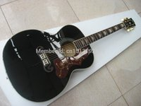 Wholesale Jumbo black color acoustic electric guitar China made guitar