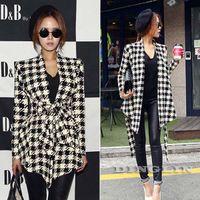 Wholesale Fashion New Spring Women Long Sleeve Houndstooth Print Open Stitch Belt Peplum Slim Jacket Cardigan Coat Top