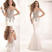 Cheap White Mermaid Crystal Beaded Prom Dresses Vestido Festa Formatura 2014 Tarik Ediz Designer Illusion Crew Neckline Sexy Backless Prom Gowns
