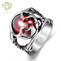 Wholesale Red Ring Fashion Rock Style L Stainless Steel Personalized Vintage Red Steel Jade Stones Punk Circle Rings Jewelry for Men Boys