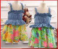 american ideals - 2016 New Fashion Pink Ideal Girls Denim Tutu Dresses Girls Denim Floral Splicing Summer Slip Dresses Children s Dresses Size for T years