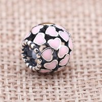 baked beads - Bracelets Silver Beads Sterling Silver Pandora Charm Pink Flower Baking Finish Beads Origina Loose Beads DIY Bracelets PD0007 B