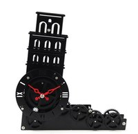 Wholesale Leaning Tower of Pisa model gear rotating fashion creative personality gear clock bell