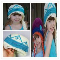 Wholesale Crochet frozen hats kids girls baby handmade hat crochet knitting ELSA ANNA cap frozen winter hat in girls beanie hand knitted hat F477