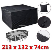 bamboo garden furniture - 6 Seaters Dust Waterproof Outdoor Garden Furniture Rain Cover Shelter Rattan For Cube Table Chair Black order lt no track
