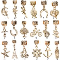Wholesale real k gold plated angel tower star heart bear pendant hanging dangle bead charm fit european bracelet PCG035