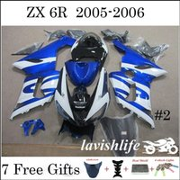 Wholesale ZX6R Fairing Kit Kawasaki Fit ZX R Ninja Blue White Black Painting Motorbike Bodywork Fashion Style Cowling Gifts