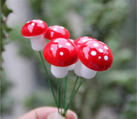 Wholesale 10Pcs Mini Red Mushroom Garden Ornament Miniature Plant Pots Fairy DIY Dollhouse