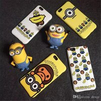 Cheap iphone6 Cute One Eye Two Eyes Minions TPU Rubber Case Despicable Me Banana Ape Back Cover Shell For Iphone 6 6plus 6+