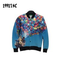 baseball balloons - 2015 D jacket Around the colored balloons flying house printing couple warn coat baseball clothing