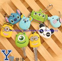 Wholesale Kawaii Key Hooks - 300pcs minion keychain Kawaii Cartoon Monsters Minions Etc. Rubber Key Cover Chain Holder Keychains KEY Hook Cap Case Key Coat Wrap7 styles