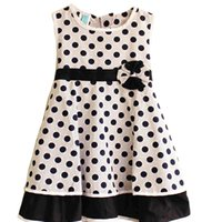 TuTu Summer A-Line New Summer Girls Dress Dot Print Bow Party Birthday Elegant Children Clothes For Size 2-6