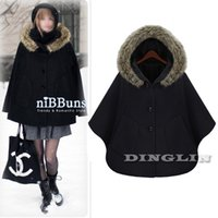 Wholesale 2014 Fashion Womens Ladies Batwing Dolman Thick Pocket Button Casual Fur Hooded Wool Winter Coat Poncho Cloak Black Camel M