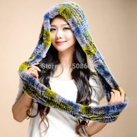 Wholesale 14610 NEW Knitted Real REX rabbit fur hat beanie fur scarf fur double used fur hat bomber cap wrap cape neck warmer