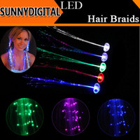 fiber fiber optic - 2015 New Flash LED Braid Colorful Luminous Fahsion Headdress Light Up Fiber Optic Hair Pigtail Plait For Party Festival Props Xmas Club Bar