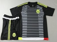 mexico - 2015 Mexico home black soccer jersey men s thai quality football uniform men s outdoor athletic apparel short sleeve sports tracksuits