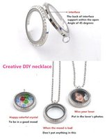 magnetic pendant - Origami owl large floating locket magnetic stainless steel glass Personality frame pendant lovers necklace valentine s day gift