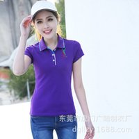 Wholesale Spring middle aged female new simple short sleeved shirt lapel solid color cotton polo shirt quality femaleP polo shirt