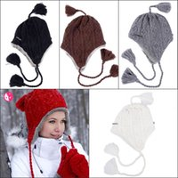Wholesale Actionfox Winter Earmuffs Hats New Korean Style Ladies Skull Cap Tassel Thickened Warm Two Layers Knitted Wool Ear Protection Caps