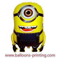 balloon launching - 50pcs alumnum balloons Festival party supplies Explosion models Cartoon toys balloon launch monocular small yellow man floating air ball su