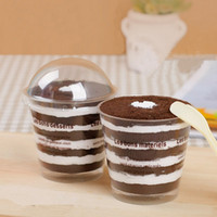Wholesale Plastic Round Dome Lid Spoon Tiramisu Muffin Cake Cups Bag Clear Home DIY Dessert Baking Tools