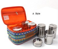Wholesale 2015 Outdoor sensual Ethnic camping seasoning condiment Spice box non magnetic stainless portable storage kit set Free DHL
