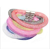 Wholesale Crystal Mesh Bracelet - stardust bracelets mesh chain with full resin crystal bracelets inside magnetic wrap bracelet charm bracelet 17color optional ak038