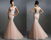 Wholesale 2016 Hot Lace Prom Dresses Mermaid Vintage Lace Applique Sheer Neck Blush Pink Tulle Party Evening Formal Gowns Pageant Dresses For Women