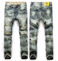 acid wash jeans - Stonewashed Straight Distressed Vintage Ripped Men Jeans Gray Denim Jeans With Hole Size