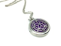 Wholesale Sakura Floral Locket With Pads cm Rolo Chain For Essential Oil Diffuser Necklace
